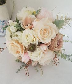 Vintage white and blush real touch silk bridal bouquet - Silk bridal bouquet - W. Vintage white and blush real touch silk bridal bouquet - Silk bridal bouquet - Wedding bouquet - Occasions Blush Wedding Flowers, Bridal Flowers, Wedding Bouquets, Silk Flowers, Bridesmaid Bouquet, Wedding Dresses, Bridal Shower Decorations, Wedding Decorations, Tulip Colors