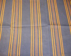 """Vintage French Ticking / Upholstery Fabric Blue  with Buttery Gold stripes  39"""" by 19"""" MPY 049"""