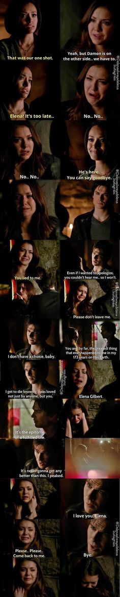 This was one of the most emotional episodes of the vampire diaries. It broke my heart seeing these two people who clearly loved each other lose their significant other Vampire Diaries Poster, Vampire Diaries Wallpaper, Vampire Diaries Damon, Vampire Diaries Quotes, Vampire Diaries The Originals, Damon Salvatore, Delena, Supernatural Texts, Ian Somerhalder Vampire Diaries