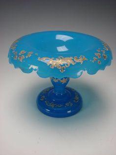 Antique Bohemian Glass Blue Opaline Gothic Gilt Enamel Cut Compote Vase c1860
