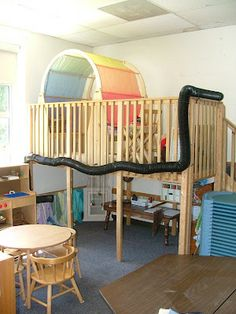 The Dramatic Play area has two floors! The long black tube zip tied to the loft structure is a fab telephone system for the children to use Classroom Layout, New Classroom, Classroom Design, Classroom Decor, Kids Play Spaces, Learning Spaces, Loft Spaces, Home Daycare, Daycare Ideas