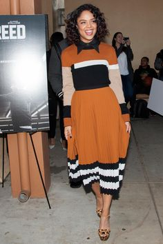 Pin for Later: 10 Celebrity Looks That'll Make You Consider Trading in Your LBD Tessa Thompson In striped Michael Kors dress as the cast of Creed attended Leadership High School's mural unveiling. Fashion Mode, Modest Fashion, Star Fashion, Look Fashion, Autumn Fashion, Fashion Tips, Fashion Usa, Tokyo Fashion, Fashion Bloggers