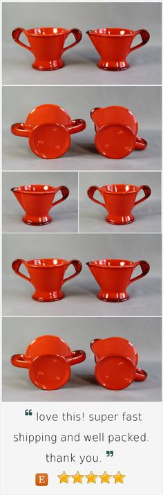 Metlox Pottery Poppytrail Provincial Solid Red Rooster Creamer & Sugar Bowl