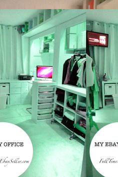 http://fulltimeebayseller.com/my-ebay-room/ My ebay home office room. Storage Ideas. Blog about selling on ebay. She posts her numbers and what she sells!