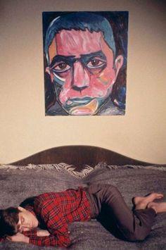 (David Bowie with his portrait of Yukio Mishima)