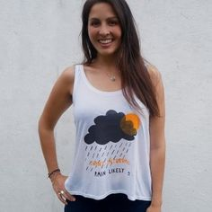 • Dispatched within 5 day • UK delivery available • International delivery available • Printed by hand in the UK  A White women's vest made from environmentally friendly Tencel material, featuring a clouds print celebrating the Great British weather.