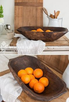 Our Deep Wooden Dough Bowl With Handles has a distressed, primitive, hand-made, old-world style. Wooden dough bowls were a staple item in century homes and make prized, versatile decorating…More Inexpensive Home Decor, Cute Home Decor, Unique Home Decor, Cheap Home Decor, Creative Decor, Wooden Fruit Bowl, Wooden Dough Bowl, Wooden Bowls, Antique Farmhouse