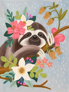 Love a sleepy sloth? Shop this and more colorful animal art from Olivia Gibbs. Cute Sloth Pictures, Sloth Drawing, Sloth Tattoo, Baby Sloth, Baby Otters, Colorful Animals, Spirit Animal, Cute Drawings, Cute Wallpapers