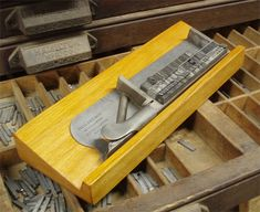 surplus supplies & letterpress printing equipment for sale at The Excelsior Press in Frenchtown, NJ 08825 Bookbinding Tools, Fundraising Page, School Fundraisers, Equipment For Sale, Printing Press, Letterpress Printing, Tool Box, Types Of Metal, Printmaking