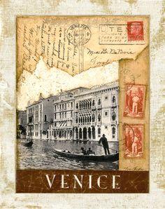 "Sello postal de Venecia, Grand Canal 11 ""x 14"""