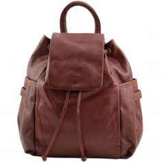 8cef4f9d601 Italiaanse bruine Leren rugzak Kathmandu - TL141202.Het buitenmateriaal van  deze tas is echt kalfsleer