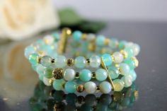 AquamarineBlue Agate Bracelet Gold accents and by AliraTreasures, $50.00