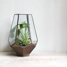 vintage glass geometric terrarium