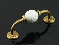 Commode boutons poignées tiroir Pull poignées armoires de cuisine boutons porte poignée Pull bouton porcelaine blanc Antique mobilier matériel céramique :