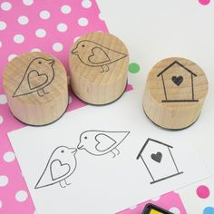 Handmade set of lovebird stamps - product images  of
