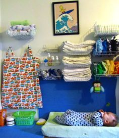 dollar store racks for cloth diapers / vertical storage in nursery