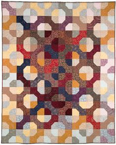 Bow Tie Quilt ~ The striking light and dark setting of these quilt blocks gives a new twist to this classic pattern. A simple scrap quilt using only a variety of squares. All squares ~ giving the illusion of curves.