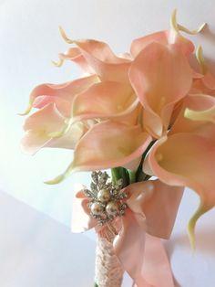 Blush Pink Calla Lily bouquet, Bridal Bouquet, wedding bouquet