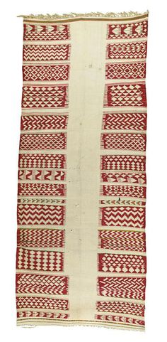 Africa | Blanket from the Kabyle people of Algeria | Wool; of very large size, with abstract designs of red with multi-coloured stripes, the lower end with a large stripe