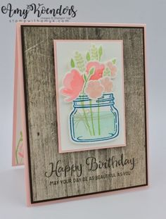 I used the Stampin' Up! Jar of Love and Beautiful Day stamp sets to create my card to share with you today. My card design was inspired by Freshly Made Sketches The theme of my card was… Mason Jar Cards, Love Jar, Pots, Love Wishes, Mason Jar Flowers, Love Stamps, Scrapbook Cards, Scrapbooking, Some Cards