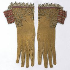 English gentleman's doeskin gauntlet gloves with metallic embroidery, c.1640, from the Vintage Textile archives.
