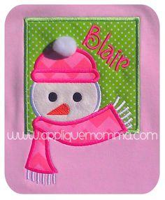 Snowman Head Patch Applique Design