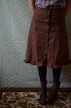 Carlson Skirt -- Buttons down the front skirt Brown size small 6 s. $42.00, via Etsy.