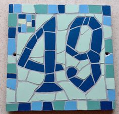 Numbers, they are too big but I like how their not perfect Tile House Numbers, Mosaic Projects, Home Signs, Porcelain Tile, Mosaic Art, Are You The One, Stained Glass, Bespoke, Sea