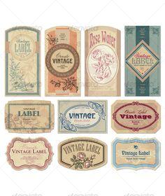 vintage labels set (vector) - GraphicRiver Item for Sale