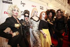 Raja, Bianca Del Rio, Sharon Needles, Jinkx Monsoon, Bebe Zahara Benet, and Tyra Sanchez (missing winners from this photo: Violet Chachki and Chad Michaels)