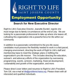 St. Joseph Right to Life (South Bend, Indiana) is hiring an Executive Director! Please share this posting! #southbend #hiring #job #joboffer #jobpost #prolife