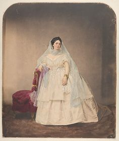 Pierre-Louis Pierson (French, 1822–1913). [Portrait in a White Dress], 1856–57, printed 1861–66. Painted and retouched by Aquilin Schad (Austrian, 1817–1866). The Metropolitan Museum of Art, New York. Gilman Collection, Gift of The Howard Gilman Foundation, 2005 (2005.100.196)
