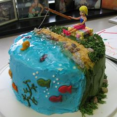 girl fishing cake