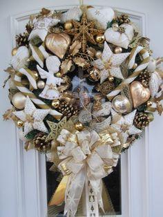Türkranz,Weihnachten,Weihnachtskranz,Weiß-Gold,Tilda-Art | eBay