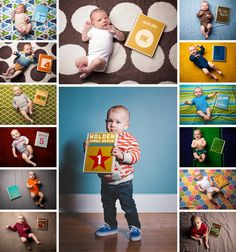 """picture every month with a new """"book cover"""" (I am going to do this for #2 with mini books and inside write milestones from that month!)"""