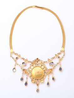 Antique 19th Century Italian Renaissance Pearl Sapphire Gold Necklace image 2