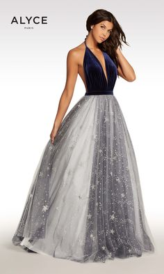 Starry Starry Night! We absolutely love this unique design from the Kalani Prom collection from Alyce Paris! The bodice features a deep plunging neckline of soft velvet and a completely open back. Sparkling glitter stars in silver are on the outermost layer of the tulle skirt. All you need to do is find the perfect occasion for this out of this world gown!