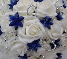 wedding flowers baby's breath | WEDDING FLOWERS - BRIDES POSY BOUQUET, IVORY ROSES AND ROYAL BLUE ...