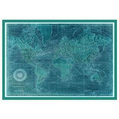 Surya Turquoise World Framed Map ($983) ❤ liked on Polyvore featuring home, home decor, wall art, turquoise home accessories, map wall art, map home decor, turquoise home decor and turquoise wall art