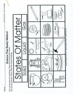 FREEBIE! States of Matter Cut and paste the words into the