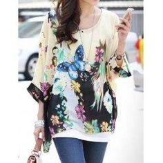 trendsgal.com - Trendsgal Scoop Neck Printed Loose Fitting 3 4 Sleeve Chiffon Blouse For Women - AdoreWe.com