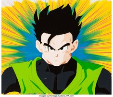 Dragon Ball Z Gohan Production Cel with Production Background and Animation Drawing (Toei Animation, c. 1989-96) Dragon Ball Z, Auction, Animation, Drawings, Anime, Art, Dragon Dall Z, Art Background, Kunst