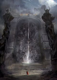 The Gates of Amhrak by jordangrimmer landscape location environment architecture | Create your own roleplaying game material w/ RPG Bard: www.rpgbard.com | Writing inspiration for Dungeons and Dragons DND D&D Pathfinder PFRPG Warhammer 40k Star Wars Shadowrun Call of Cthulhu Lord of the Rings LoTR + d20 fantasy science fiction scifi horror design | Not Trusty Sword art: click artwork for source