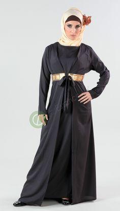 Rabab Abaya | Women | Eastessence.com    Black and Green