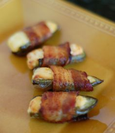 Super Bowl App: Bacon Wrapped Jalapeño Poppers  (fill with plain cream cheese or pimento cheese)