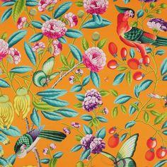 MANUEL CANOVAS TROPICAL Serendip Birds Toile Fabric 10 yards Mango