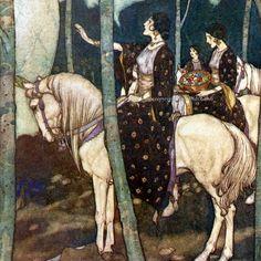 Maidens on White Horses. Illustration by  Edmund Dulac, from The Arabian Nights. KatyDidsFabrics, $5.99