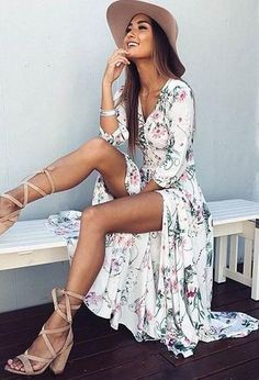 floral maxi dress. hat. lace up sandals. summer style.