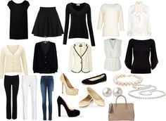 Week Trip: 2 blazers (black, white); black skirt; 2 trousers (black, white); jeans; 3 black tops (sleeveless, short, long); 3 white tops (sleeveless, 3/4 sleeve, blouse); flats (2); heels (2); purse; evening clutch; belt; scarfs; jewelry. Under garmets. Nighties.