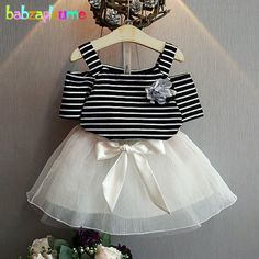 children clothing on sale at reasonable prices, buy babzapleume Kids Summer Clothes Princess Stripe T-shirt+Lace tutu Skirt Baby Girls Suits Fashion Children Clothing Sets from mobile site on Aliexpress Now! Baby Girl Skirts, Baby Dress, Baby Girl Fashion, Kids Fashion, Cheap Fashion, Fashion Styles, Toddler Outfits, Girl Outfits, Outfits 2016